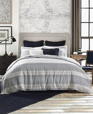 Great ... Look And Feel With The Bold Stripes And Soothing Cream And Navy Tones  Of This Stylish Laurel Dobby Reversible Bedding Collection From Tommy  Hilfiger.