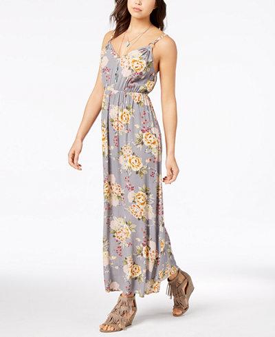 American Rag Juniors' Printed Blouson Maxi Dress, Created for Macy's