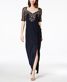 Adrianna Papell Beaded 3/4-Sleeve Gown
