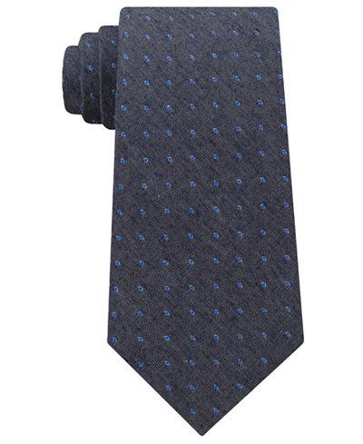 Calvin Klein Men's Gray Denim Dot Tie