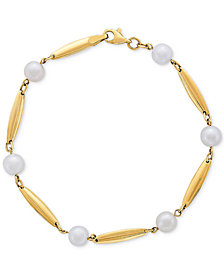 Cultured Freshwater Pearl (6mm) & Polished Bar Bracelet in 14k Gold