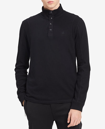 Calvin Klein Jeans Men's Garment-Dyed Mock-Collar Sweatshirt