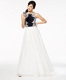 Blondie Nites Juniors' Embellished Appliqué Gown