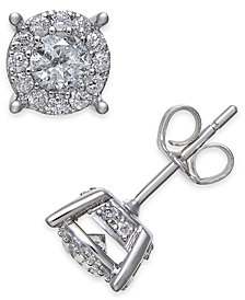 Diamond Halo Two-Level Stud Earrings (1 ct. t.w.) in 14k White Gold