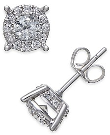 Diamond Halo Two-Level Stud Earrings (1 ct. t.w.) in 14k White Gold