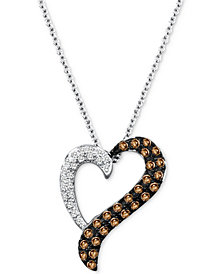 "Le Vian Chocolatier® Diamond Heart 18"" Pendant Necklace (1/3 ct. t.w.) in 14k White Gold"