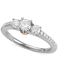 Diamond Two-Tone Engagement Ring (3/4 ct. t.w.) in 18k Gold & White Gold