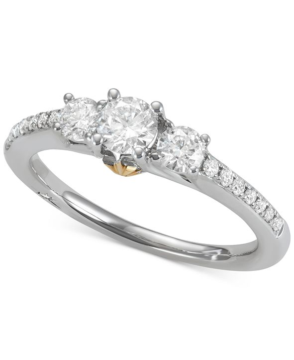Marchesa Diamond Two-Tone Engagement Ring (3/4 ct. t.w.) in 18k Gold & White Gold
