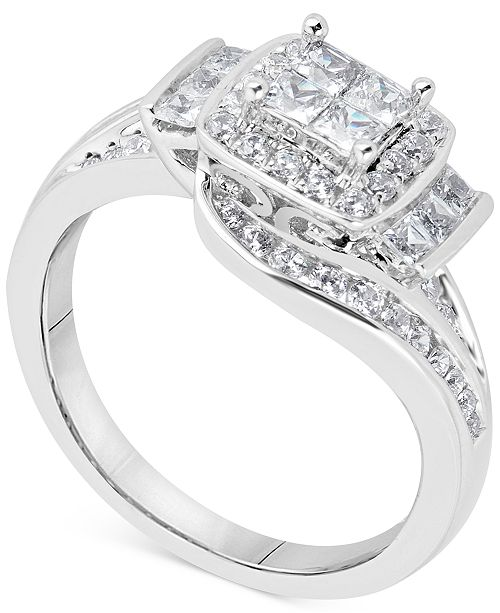 Macy's Diamond Spiral Princess Cluster Engagement Ring (1 ct. t.w.) in 14k White Gold