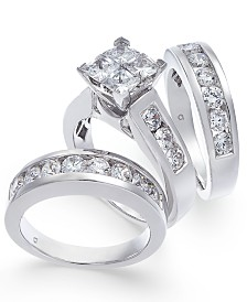 Diamond Princess Cluster Bridal Set (4 ct. t.w.) in 14k White Gold
