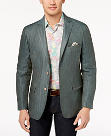 Tallia Orange Men's Big & Tall Modern-Fit Green Tonal Herringbone Sport Coat