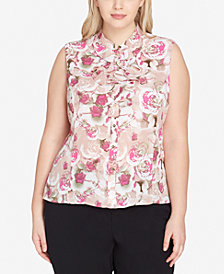 Tahari ASL Plus Size Printed Ruffled Button-Front Shell