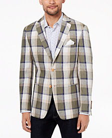 Tallia Orange Men's Modern-Fit Olive Plaid Sport Coat