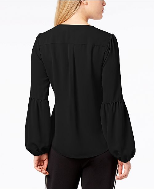 Surplice III Deep Blouson Created Macy's Sleeve Black Top Bar for dtqwR6q