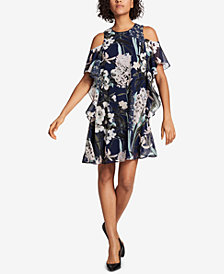 Tommy Hilfiger Floral-Printed Cold-Shoulder Dress