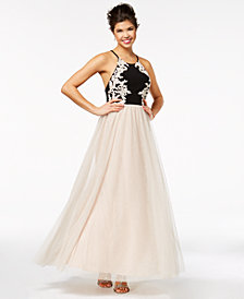 Blondie Nites Juniors' Embellished Appliqué Gown
