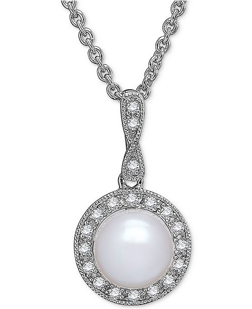 Arabella Cultured Freshwater Pearl (8mm) & Swarovski Zirconia Pendant Necklace in Sterling Silver