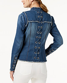 I.N.C. Lace-Up-Back Denim Jacket, Created for Macy's
