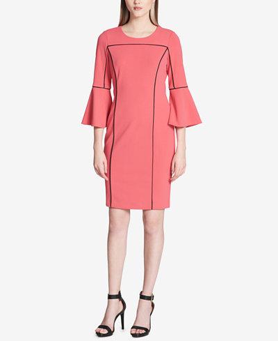 Calvin Klein Pipe-Trim Bell-Sleeve Dress