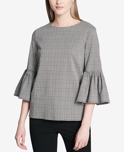 Calvin Klein Plaid Bell-Sleeve Top