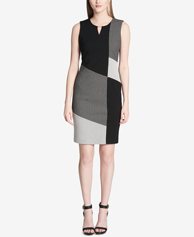 Calvin Klein Colorblocked Keyhole Dress