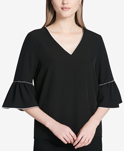 Calvin Klein Contrast-Trimmed Ruffle-Sleeve Blouse