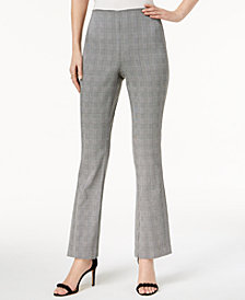 I.N.C. Plaid Flare-Leg Pants, Created for Macy's