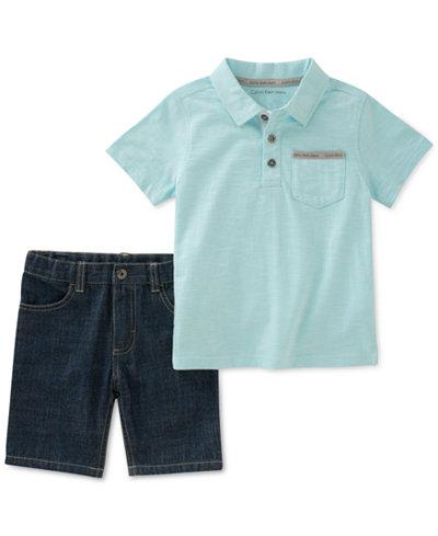 Calvin Klein 2-Pc. Polo Shirt & Denim Shorts Set, Toddler Boys