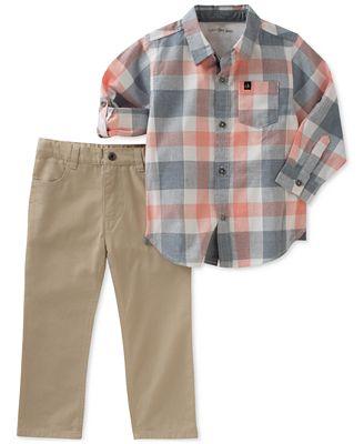 Calvin Klein 2-Pc. Woven Cotton Shirt & Pants Set, Toddler Boys