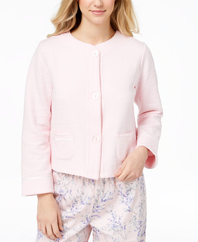 Charter Club Quilted Satin-Trim Bed Jacket, Created for Macy's