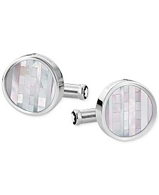 Montblanc Men's Heritage Stainless Steel and Mother of Pearl Cuff Links