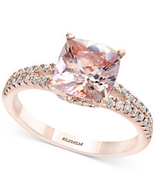 Gemstone Bridal by EFFY® Morganite (1-5/8 ct. t.w.) & Diamond (1/4 ct. t.w.) Ring in 18k Rose Gold