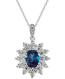 Blue Topaz (1-1/2 ct. t.w.) & Diamond (1/10 ct. t.w.) Pendant Necklace in 14k White Gold