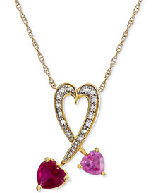 "Lab-Created Multi-Gemstone 18"" Heart Pendant Necklace (1-3/8 ct. t.w.) in 14k Gold-Plated Sterling Silver"