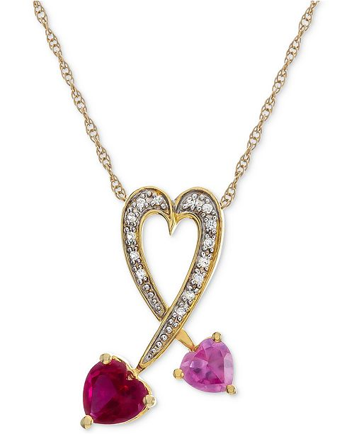 """Macy's Lab-Created Multi-Gemstone 18"""" Heart Pendant Necklace (1-3/8 ct. t.w.) in 14k Gold-Plated Sterling Silver"""