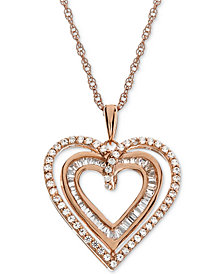 "Lab-Created White Sapphire (1/2 ct. t.w.) Heart 18"" Pendant Necklace in 14k Gold-Plated Sterling Silver"