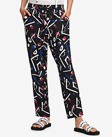 DKNY Printed Straight-Leg Pants, Created for Macy's