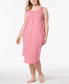 Lauren Ralph Lauren Fashion Knits Plus Size Striped Nightgown