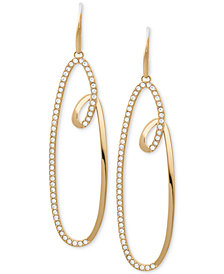 Michael Kors Pavé Swirl Drop Hoop Earrings