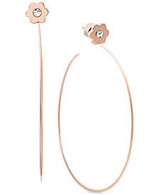 Michael Kors Rose Gold-Tone Crystal Flower Drop Hoop Earrings