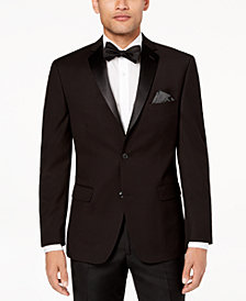 Alfani Men's Slim-Fit Solid Black Textured Dinner Jacket, Created for Macy's