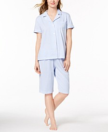 Bingham Bermuda Printed Cotton Pajama Set
