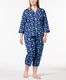 Lauren Ralph Lauren Plus Size Floral-Print Cotton Pajama Set