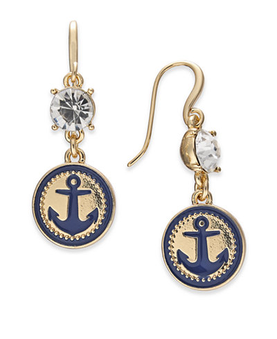 Charter Club Gold-Tone Crystal & Enamel Anchor Drop Earrings, Created for Macy's