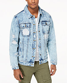 LRG Men's Ripped Denim Jacket