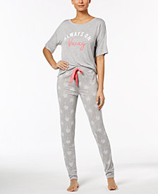 Jenni by Jennifer Moore Graphic-Print Pajama Top & Printed Jogger Pajama Pants Sleep Separates, Created for Macy's