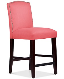 Admirable Callon Linen Nail Button Counter Stool Quick Ship Gmtry Best Dining Table And Chair Ideas Images Gmtryco