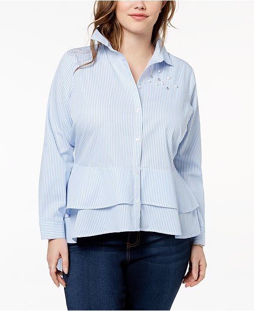 1e56a609833 ... Almost Famous Trendy Plus Size Cotton Embellished High-Low Peplum Shirt  ...