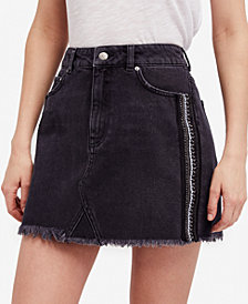 Free People Cotton Embellished Denim Mini Skirt