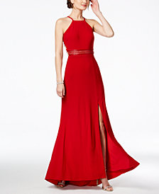 Nightway Strappy Beaded A-Line Gown